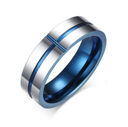 Wholesale Laser Tungsten - 6mm Tungsten Steel Two Tone Simple Cross Engagement Rings Free Laser Engraving