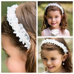Wholesale Cheap Flowers For Headbands - Cheap White Flower Girl Headbands Wedding Hair Accessories For Children Formal Kids Party Head Pieces Cute Beaded Rhinestone Headwear
