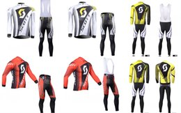 Wholesale Scott Winter Cycling - 2015 NEW arrive team scott pro cycling jerseys long-sleeve winter Quick-Dry Racing Bicycle ropa ciclismo cycling clothing gel bib pant
