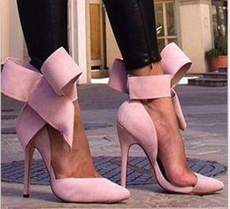 Wholesale Lace Wedding Shoe Bow - New Arrival 2015 Women Big Bow Tie Pumps Women Butterfly Pointed High Heel Shoes High Heels Ladies Wedding Shoes Size 35-41