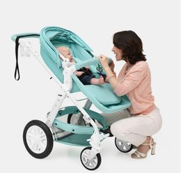 Wholesale Two Way Stroller - Safe And Comfortable Six Colors High Landscape Baby Stroller Two-way Folding Big Sleep Basket Baby Carriage Baby Can Sit And Flat Lying Down