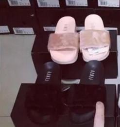 Wholesale Ladies Pink Slippers - 2017 New Rihanna Leadcat Fenty Color Slipper Faux Fur Burgundy Slide Slippers Ladies Indoor Purple Pink Sandals
