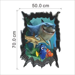 Wholesale Stickers For Kids Nemo - 3D Finding Nemo Cartoon throug Wall Stickers for Kids Rooms Baby Home Decoration WallPaper Kids Art Movie Poster Decorative Wall Decals