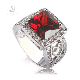 Wholesale Discounts Rings - Time limited discount Trendy Red gemstone silver Plated ring R617 sz#6 7 8 Recommend Promotion Favourite Best Sellers