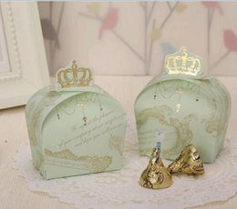 Wholesale Crown Shower Favors - Sweet Imperial Cute Crown Wedding Favors Candy Boxes Baby shower Gift Bags Wedding Boxes 100pcs lot