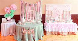 Wholesale Tablecloth Chairs - Skirt Table Polyester Table Skirt Wedding Pink Tulle Table Skirt for Princess Party Birthday Bridal Shower Wedding Sweet Style Tablecloth