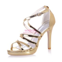 Wholesale Sexy Blue Prom Shoes - Sexy Gold Wedding Bridal Shoes For Brides Bridesmaids Gladiator Peep Toe Cheap Ladies Evening Party Prom Dress Patent Leather Pumps Sandals