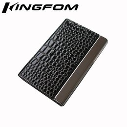 Wholesale Magnetic Card Locks - Wholesale-Fashion Magnetic Lock Leather Business Card Case ID Card Holder Display Organizer Wallet Black Crocodile Pattern 1162