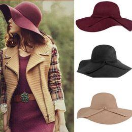 Wholesale Hat Retro Vintage - Fashion Retro Vintage Women Lady Cloches Sunhat Soft Wide Brim Woolen Felt Bowler Floppy Cloche Fedora Hat