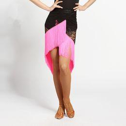 Wholesale Red Salsa Skirt - Adult New Latin Dance Dress salsa tango Cha cha Ballroom Competition Group Lace Tassel Dance Skirt 7Color G006