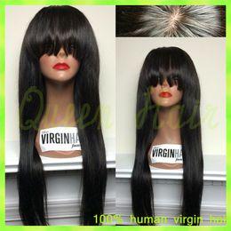 6A качество Glueless полный парики кружева с челкой прямые девственные бразильские человеческие волосы парики отбеливатель узел для черных женщин Бесплатная доставка cheap brazilian lace wigs 6a от Поставщики бразильские кружевные парики 6a