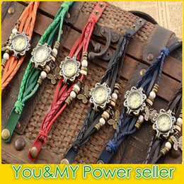 Wholesale Red Star Watches - Free Ship Women Genuine Leather Vintage Watch Leaf Pendant bracelet Wristwatches Butterfly Wing Eiffel Tower Clover Star Cross