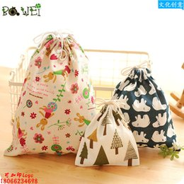 Wholesale Luggage Bag Fabric - Wholesale- Printing cotton and linen travel bag pockets luggage drawstring clothes storage finishing bags