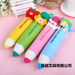 Wholesale Pen Pendant - Kawaii PEN Shape KEY HOOK School Kid's Plush Pen Pencil BAG Pouch Case Pack Pendant Storage Pouch Bag Case Coin Purse Wallet BAG 00737