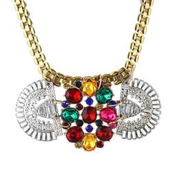 Wholesale Luxury Necklaces Gemstone Pendant - Geometric Necklaces Created Gemstone Bohemian Necklace India Jewelry For Women With Luxury Graceful Big Shiny Rhinestone