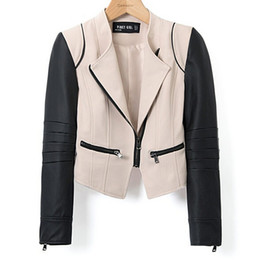 Wholesale European Womens Leather Jacket - Wholesale-New 2015 Autumn Fashion Color Block Leather Motorcycyle Aviator Short Jackets And Coats Womens European Brand Fall Crop Casaco