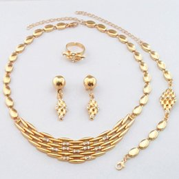 Wholesale 24k Gold Plated Jewelry - Dubai 24K Gold Plated Luxury Necklace Jewelry Sets Wedding Bridal Necklace Earrings Bracelet Ring 742
