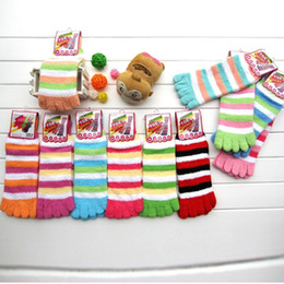 Wholesale Fuzzy Fleece - Fuzzy Five Toe Socks Women Warm Socks Striped Christmas Sock Wholesalers American Toe Socks Winter Thermal Socks