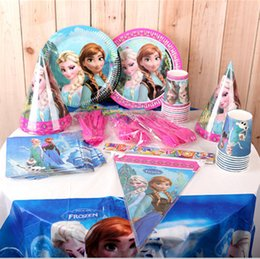 Wholesale Kids Party Table Cloths - 2015 Christmas Kids Birthday party Decoration set Frozen ELSA & ANNA princess Theme Party Supplies Girl Holiday parties products table cloth