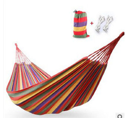 Wholesale Thick Hammock - Free shipping thick canvas hammock outdoor camping single bed indoor Holiday Travel Products swing send tying pouch
