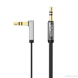 Wholesale Right Cable - Hot sale DiGiYes 1m 3.5mm Auxiliary Audio Flat phone Cable 90 Degree Right Angle Compatible splitter cable for phones CPA_271