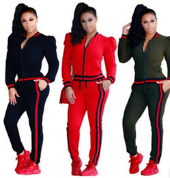 Wholesale Jacket For Jogging - Two Piece Outfits 2017 new Sports Suit Jogging Suits For Women Fashion casual Outdoor sportswear Tracksuits Baseball jacket coat +Sweatpants