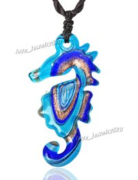 "Wholesale Italian Murano Glass Pendants - Animal Seahorse Italian venetian Hippocampe Shape Gold Dust Murano Glass Pendant Necklace with 19.7"" Black Manual Weaving Necklace Cord"