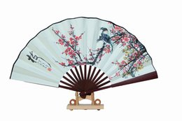 "Wholesale Vintage Wedding Hand Fans - Ethnic Handicrafts Flower Folding Fan 10"" Vintage Chinese style Silk Fabric Male Hand Fans Home Decoration Fashion Gift"