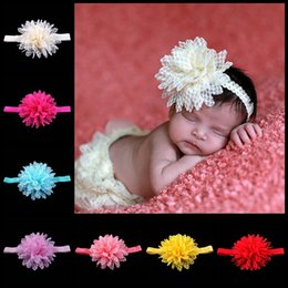 Wholesale Headband Pop - New Style Pop in Europe and American For Children Baby Hair Lace Elastic Headband 14 Color Hair Accesories