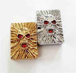 Wholesale Usb Power Flameless Cigarette Lighter - Electronic USB Rechargeable Lighter Luxury Skull Style Cigar Cigarette Flameless Lighter LED Power Indicator Gift for Man Free shipping