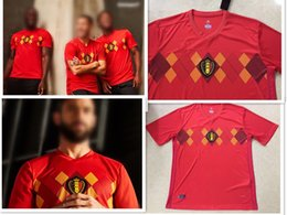 Wholesale Belgian Red - 2018 Belgian jerseyBelgium National Team Soccer Jerseys 2018 KOMPANY WISTSEL LUKAKU DE BRUYNE Football Shirt