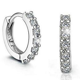 Wholesale Hook Diamond Earrings - 925 Stering Silver Stud Earrings Hoop Huggie Platinum Plated CZ Diamond Crystal Fashion Hook Earrings Ear Stud Jewelry Earings Factory Price