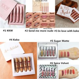 Wholesale Spices Set - Kylie lip gloss Kylie Spice Lip Set Sugar Lipgloss Set Kylie Send me more nude Koko Kollection KKW lip gloss In love with koko