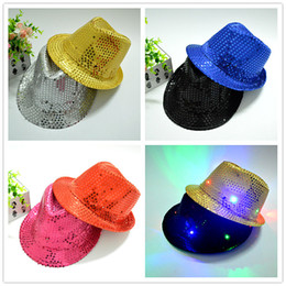 Wholesale Cowboy Toys - Hot LED Lights Cowboy Hat Halloween Jazz Sequins Adult and Children's Show Stage Performance Hats Luminescence Multi Color