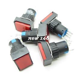 Interruptor de botão momentâneo vermelho on-line-Retângulo Vermelho momentânea Botão Interruptor + DC12V Llight NO-COM-NC 16mm 5Pin 3A 25 PÇS / LOTE