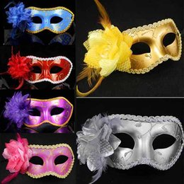 Wholesale Leather Masks - Women Feather Sexy Mask Venetian Mask Masquerade Mask With Flower Leather Mask Dance Party Mask For Weeding Party Birthday Xmas