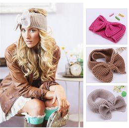 Wholesale Crochet Headbands For Sale - 200pcs HOT sale 12 colors Fashion Knit Crochet Headbands Bow Style Crocheted Hair Bands for Girls Women Hair Accessories D494