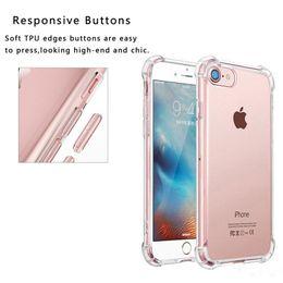 Wholesale Super Transparent - Super Anti-knock TPU Transparent Clear Protect Cover Four Angle Shockproof transparent Soft Cases for Iphone 5 6 6s plus 7 7 plus