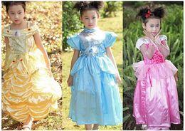 Wholesale Yellow Lantern Cosplay - belle costume kids cinderella costume kids sleeping beauty dress belle princess dress cosplay costumes belle beauty the beast dress CY2939