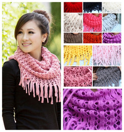 Wholesale Womens Knit Infinity Scarfs - MIC New 13colors Fashion Girl Womens Winter Knit Infinity Circle Scarf Wrap Scarves Tassels 100cm 11colors