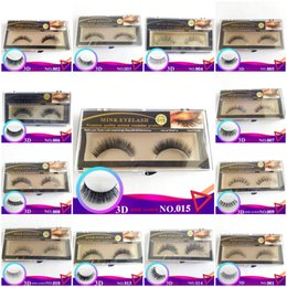 Wholesale Real Mink Fur Lashes - 13 Styles Real Mink Hair Fur Eyelashes Handmade Natural Long Thick Soft Crossing 3D Mink Fake Eye Lashes for Eye Makeup Dropshipping