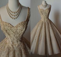 Wholesale Retro Short Wedding Dresses - 2015 Beaded Spaghetti Ball Gown Tulle Knee Length vintage 1950s Design Retro Beach Summer Wedding Gowns Short Princess Wedding Dresses