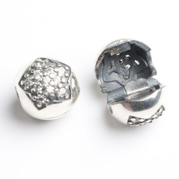 Wholesale 925 Silver Charm Bead Stopper - Fits Pan Bracelets 4.5mm star stopper beads dangle charms Silver Beads Cubic Zirconia 100% 925 Sterling Silver Charms for DIY Jewelry