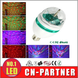 Wholesale Stage Light Rohs - Samples of retail Full Color 3W E27 RGB LED Crystal Stage Light Voice-activated Or Auto Rotating DJ party bulb KTV Effect mini Stage lights