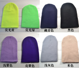 Wholesale Wholesale Knit Hats One Size - Wholesale-Hot Sale 2015 New Fashion Winter Men Women Solid Color Elastic Hip-Hop Cap Knit Ski Beanie Hat Slouch 18 Colors One Size WJM11