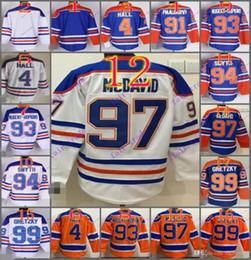 Wholesale 91 Jersey - Stitched Edmonton Oiler #97 Connor McDavid 99 Wayne Gretzk Blank 4 HALL 91 PAAJAR Blue Orange White Ice Hockey Jerseys Ice Mix Order