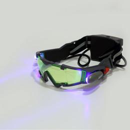 Canada 1 Pcs Lunettes eyeshield Vert Lentille Réglable Bande Élastique Vision Nocturne 25 Pieds Lunettes LED Lumières Sombre Eyewear Drop Shipping Offre
