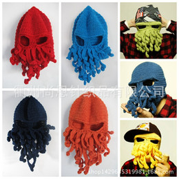 Wholesale Funny Cheap Gifts - 2017 Christmas Gift Creative funny Octopus hat handmade wool hat animal Ski Hat squid beard Cheap Sale