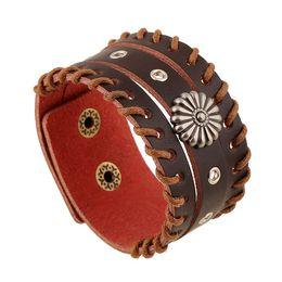 Wholesale Wide Wrist Cuff - Mens Cuff Leather Bracelets Fashion Wide Leather Rivet Sunflower hand made Punk Style Infinity Charms bracelets Wristband Wrist Jewelry