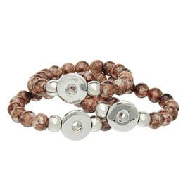 Wholesale Child Snake Charm Bracelet - SALE! Fashion Children Girls Bracelet Colorful Glass Beads Elastic noosa Snap Button Bracelet chunk Ginger snaps mix colors 10pcs